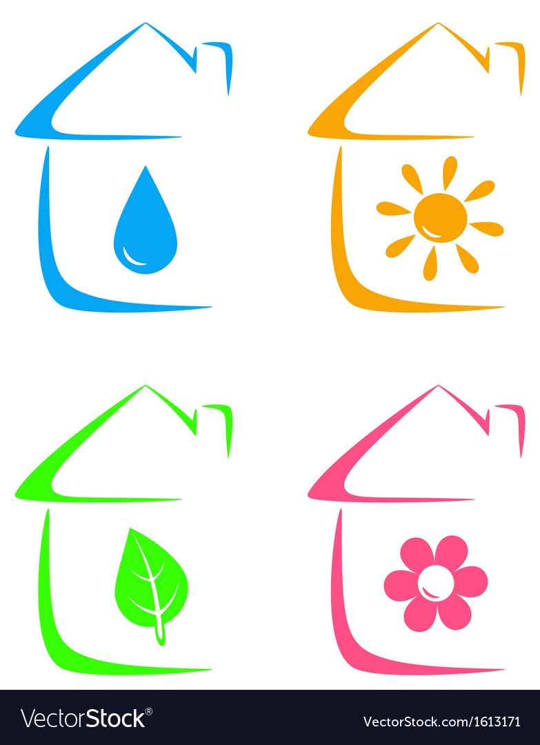 Icons of eco house heating and water supply vector | Price: 1 Credit (USD $1)