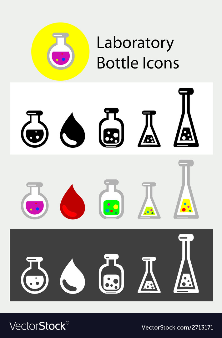Lab bottle icons vector | Price: 1 Credit (USD $1)