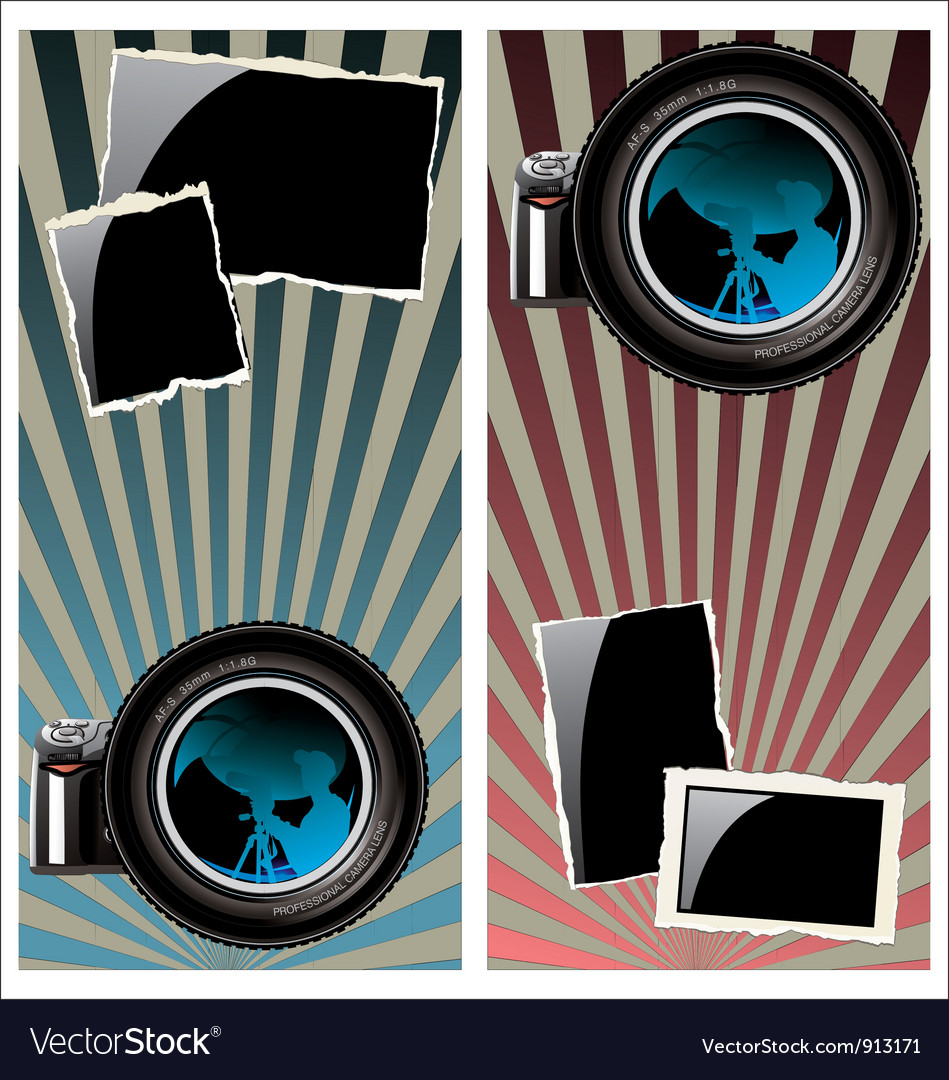 Lens and old photo frames vector | Price: 1 Credit (USD $1)