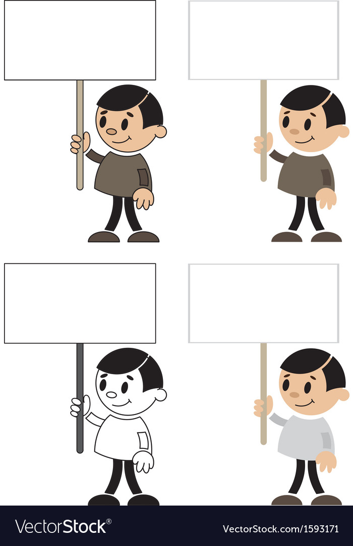 Men with blank sign vector