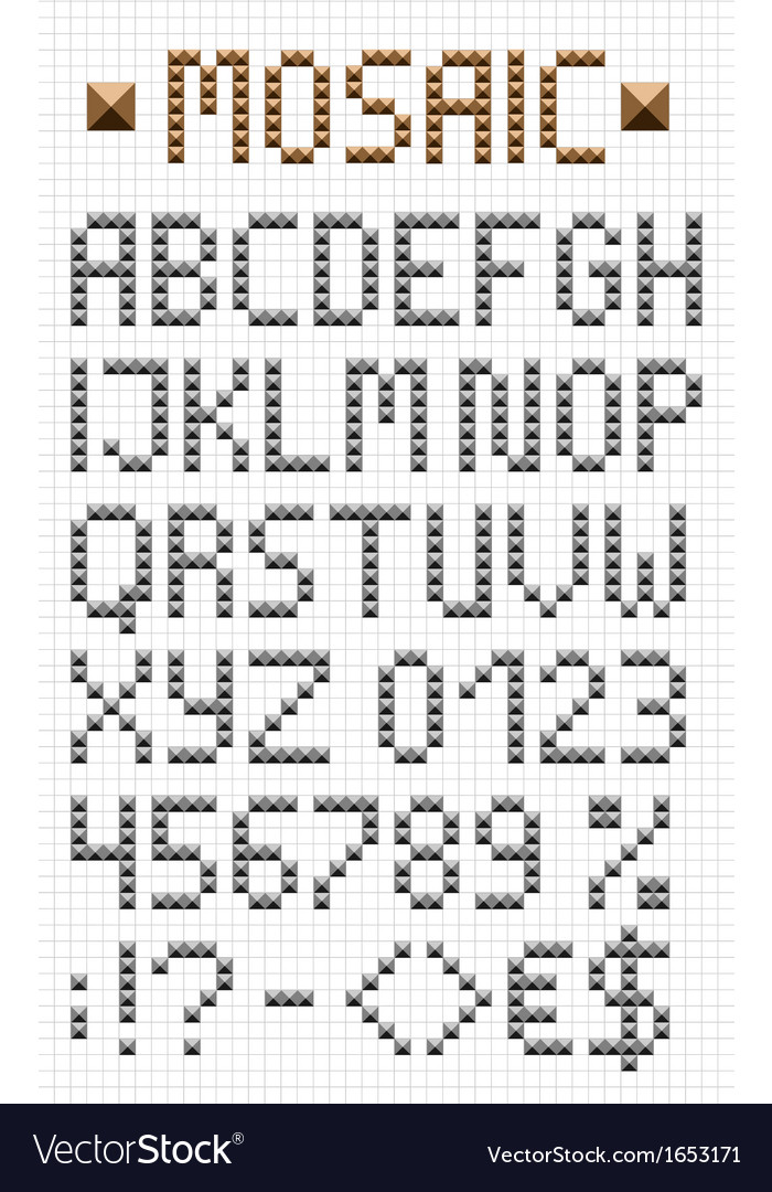 Mosaic uppercase english alphabet vector | Price: 1 Credit (USD $1)