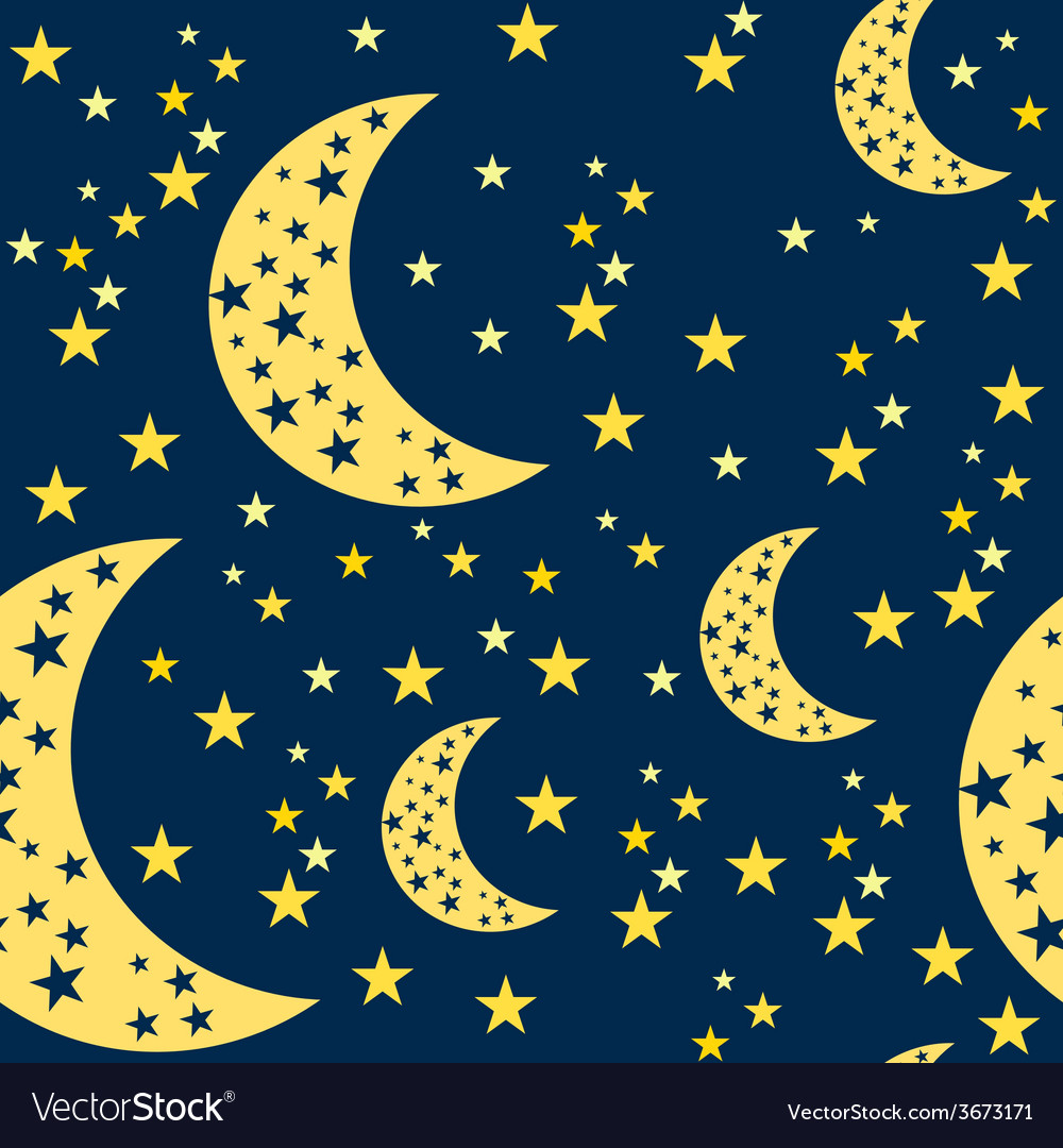 Night sky seamless pattern moon and stars vector | Price: 1 Credit (USD $1)