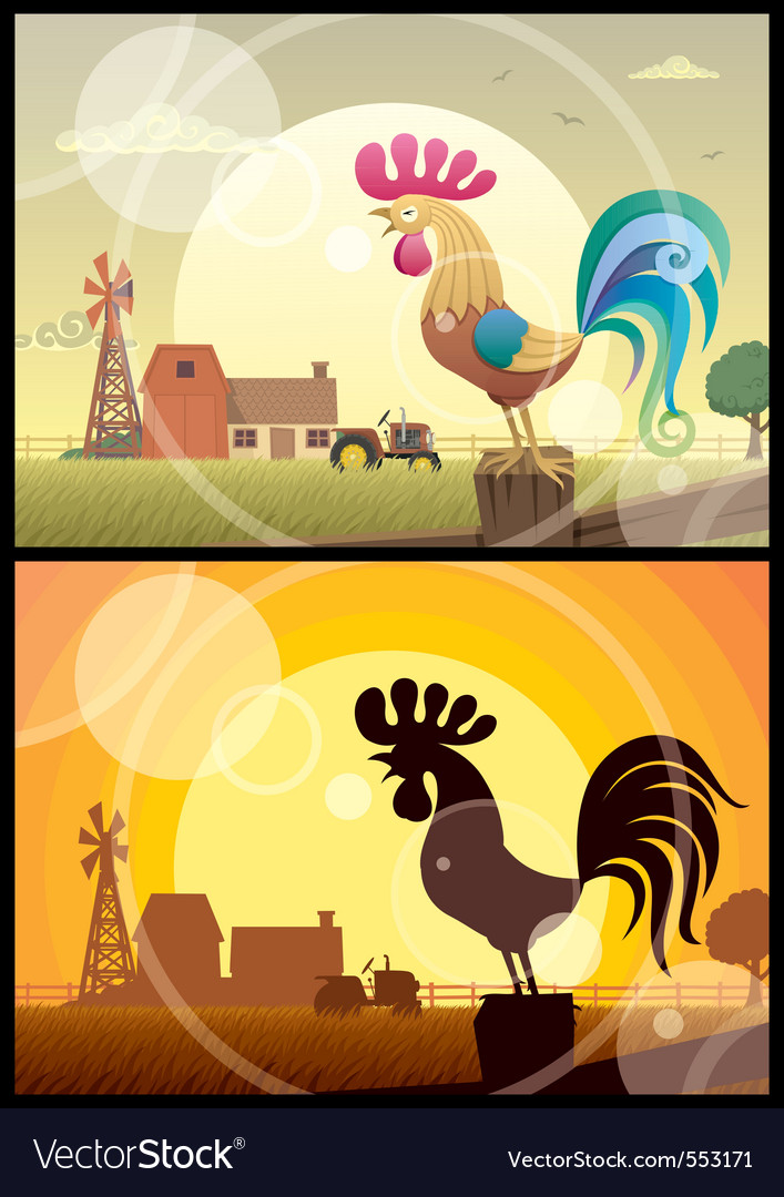 Rooster crowing vector | Price: 1 Credit (USD $1)
