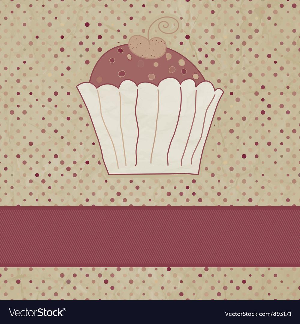 Vintage cupcake card vector | Price: 1 Credit (USD $1)
