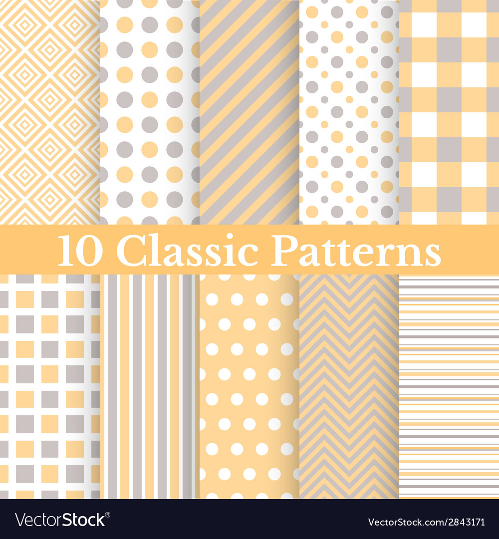 Vintage different seamless patterns vector | Price: 1 Credit (USD $1)