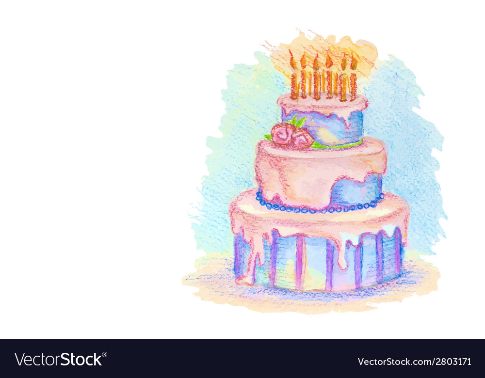 White card with hand drawn birthday cake vector | Price: 1 Credit (USD $1)