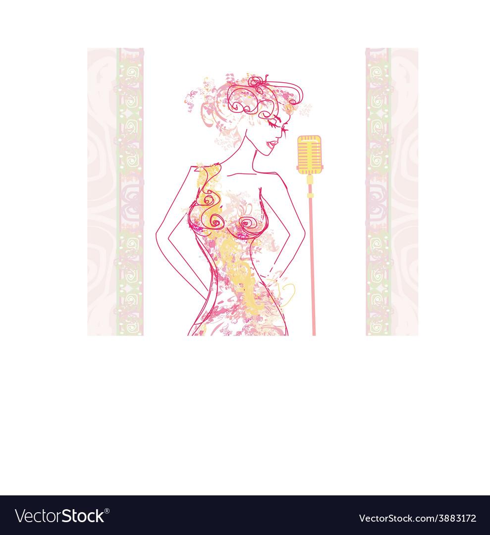 Beautiful karaoke girl - abstract portrait vector | Price: 1 Credit (USD $1)