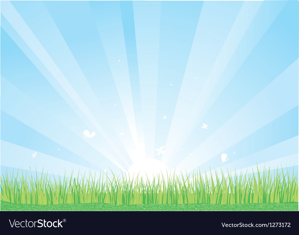 Blue sky and green grass background vector | Price: 1 Credit (USD $1)