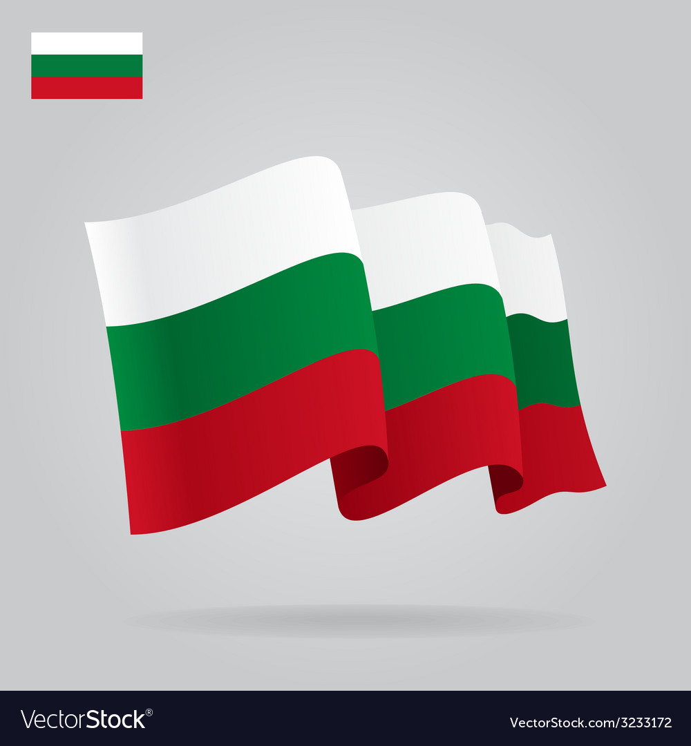 Flat and waving bulgarian flag vector | Price: 1 Credit (USD $1)