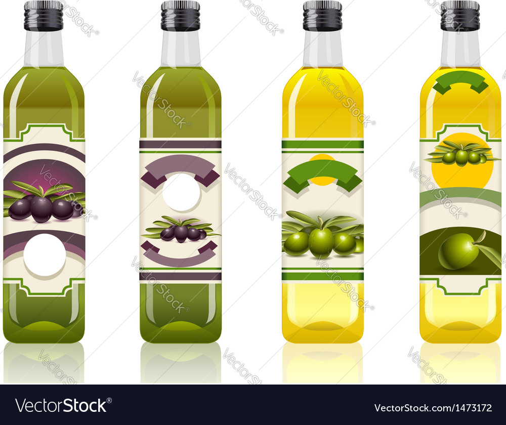 Four olive oil bottles with labels vector | Price: 1 Credit (USD $1)