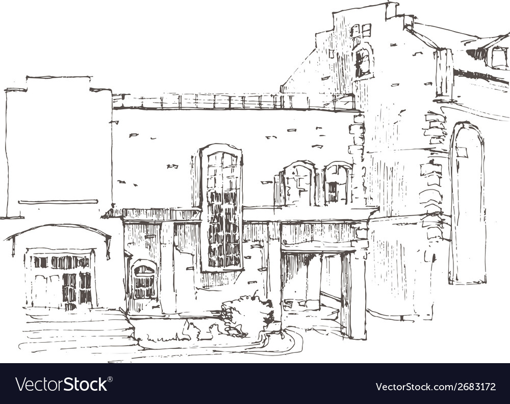 Hand sketch of an old building vector | Price: 1 Credit (USD $1)