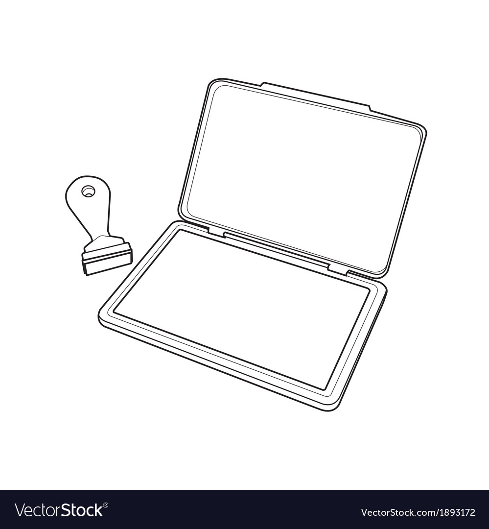 Ink pad with rubber stamp outline vector   Price: 1 Credit (USD $1)