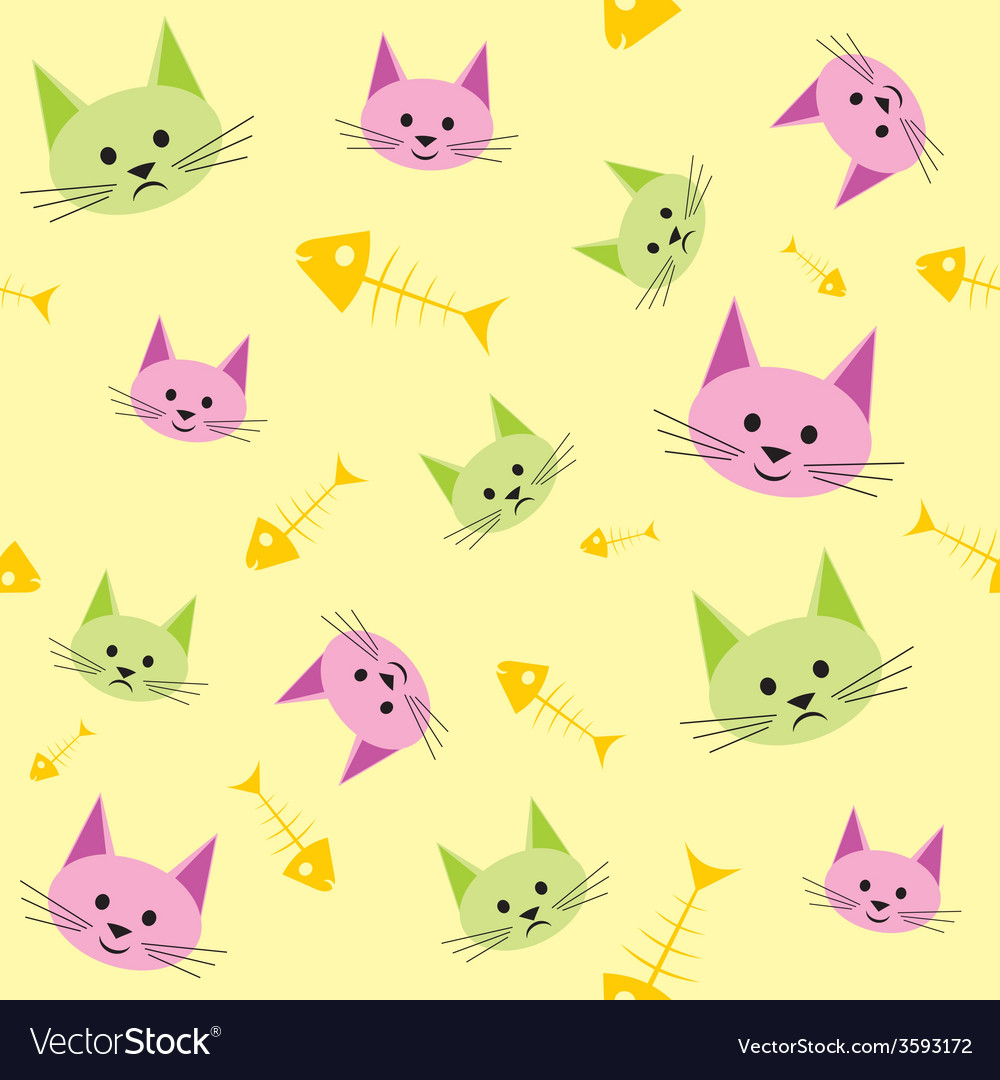 Seamless background with funny cats vector | Price: 1 Credit (USD $1)