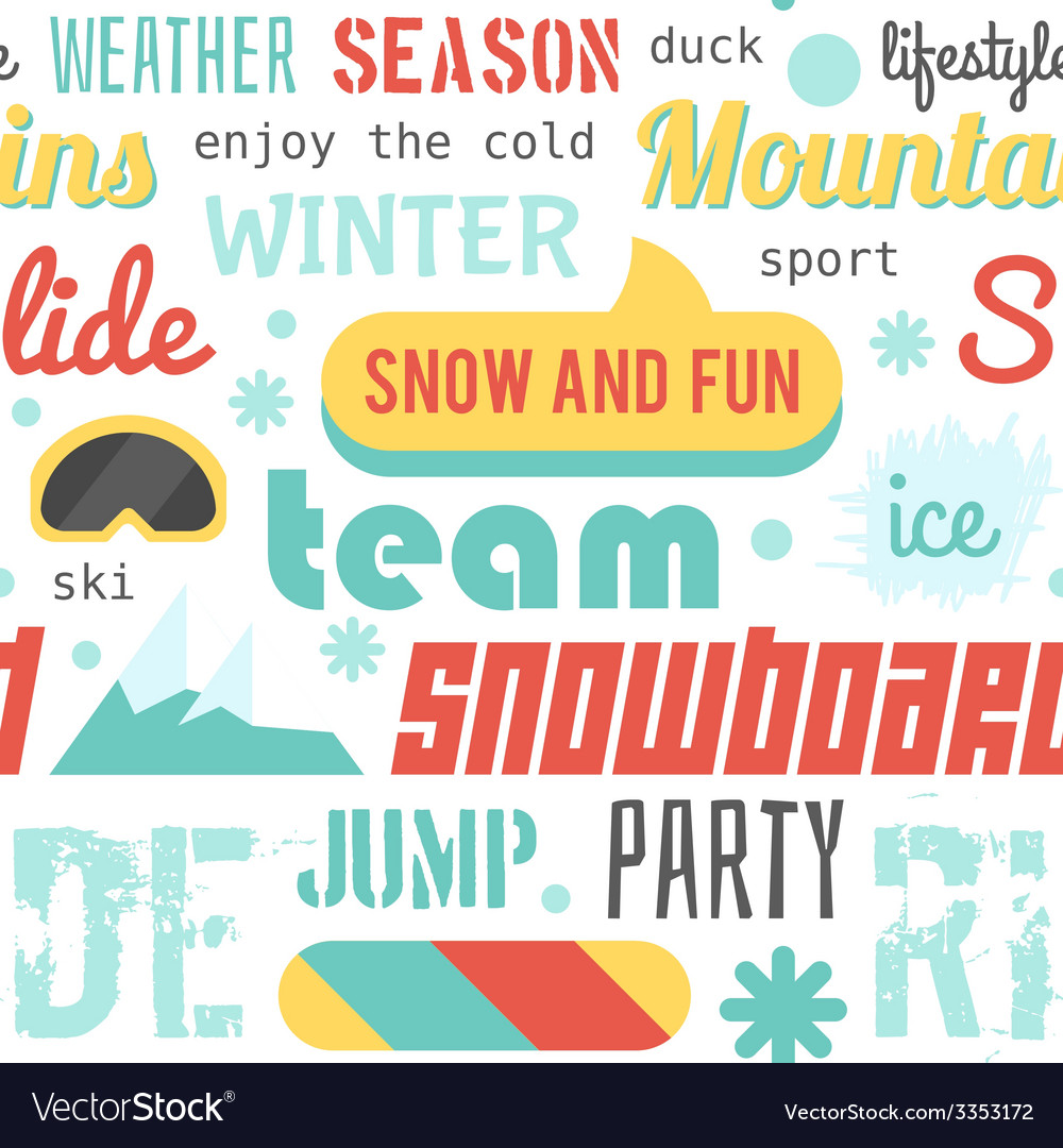 Seamless pattern with snowboarding stuff and words vector | Price: 1 Credit (USD $1)