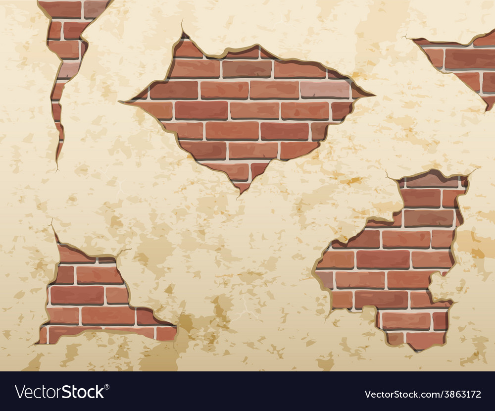 Set old shabby concrete and brick cracks vector | Price: 3 Credit (USD $3)