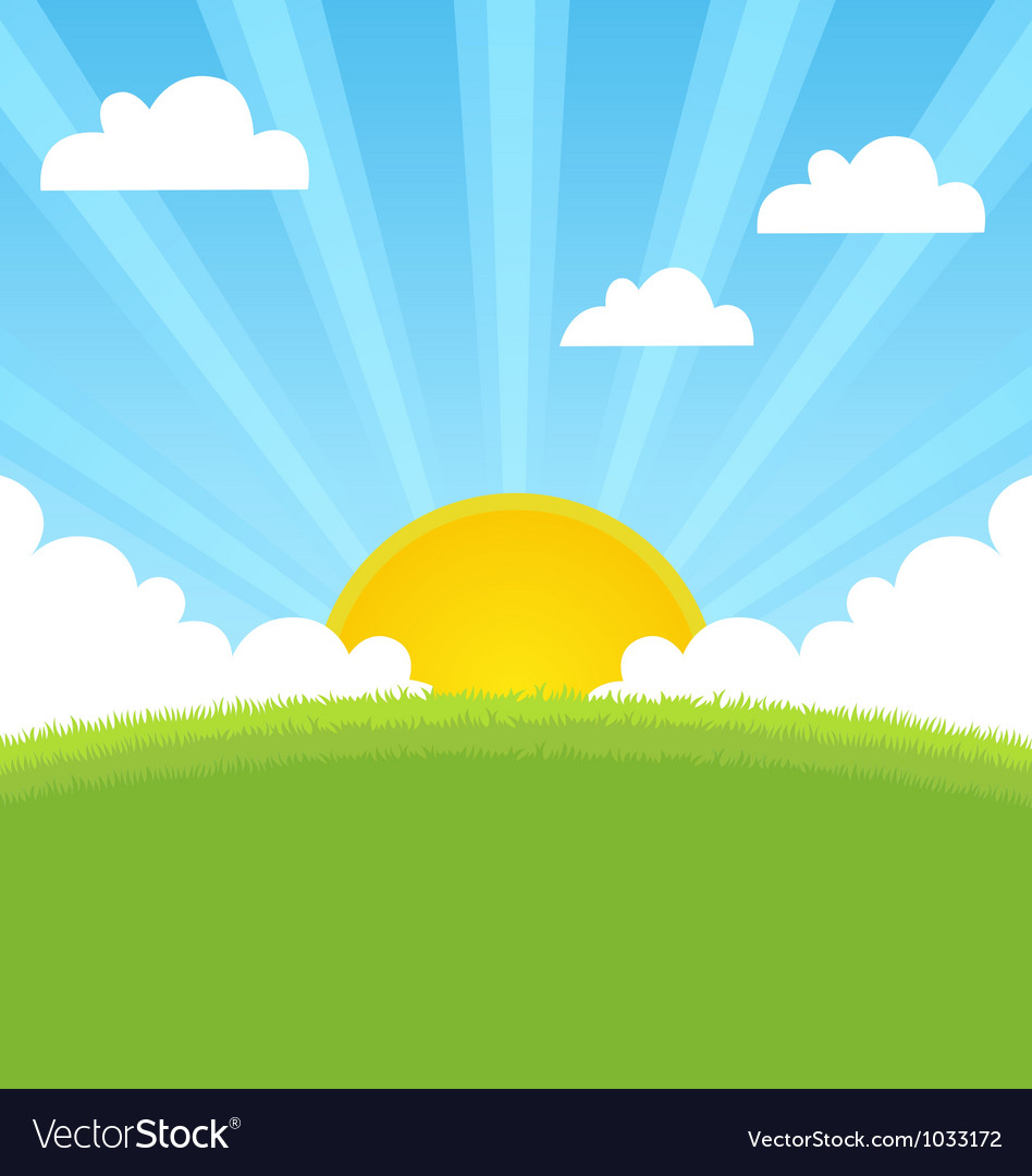 Summer landscape with sun and blue sky vector | Price: 1 Credit (USD $1)