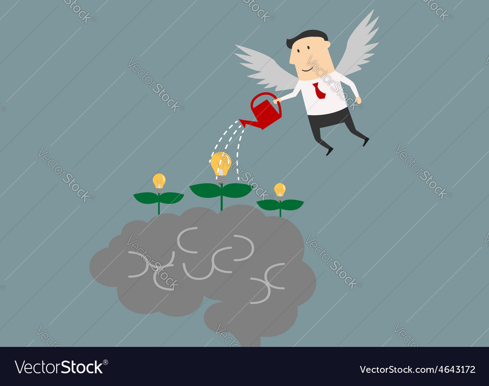 Winged businessman watering ideas on a brain vector | Price: 1 Credit (USD $1)