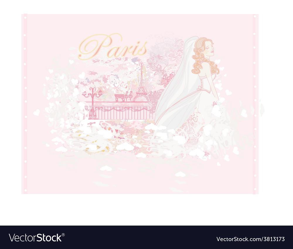 Beautiful bride in paris card vector | Price: 1 Credit (USD $1)