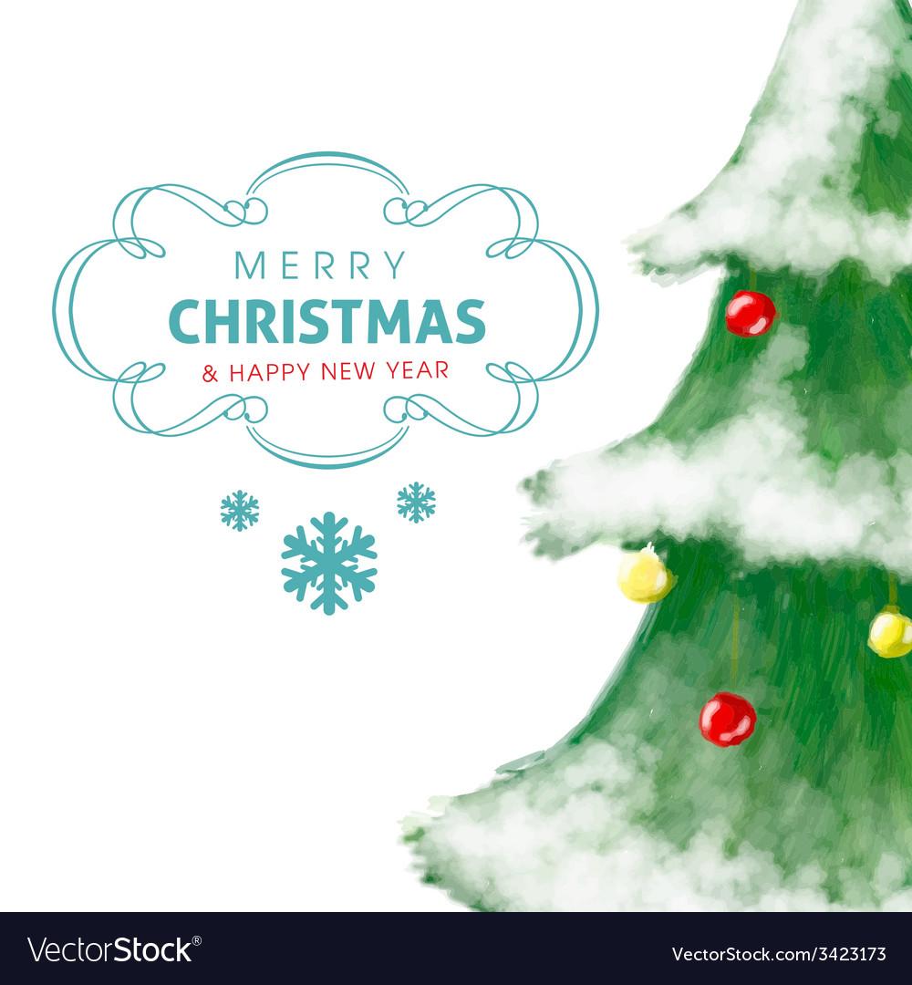 Christmas tree greeting card hand drawn and shiny vector   Price: 1 Credit (USD $1)