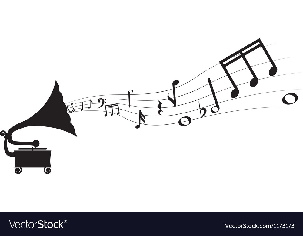 Gramophone and melody vector | Price: 1 Credit (USD $1)