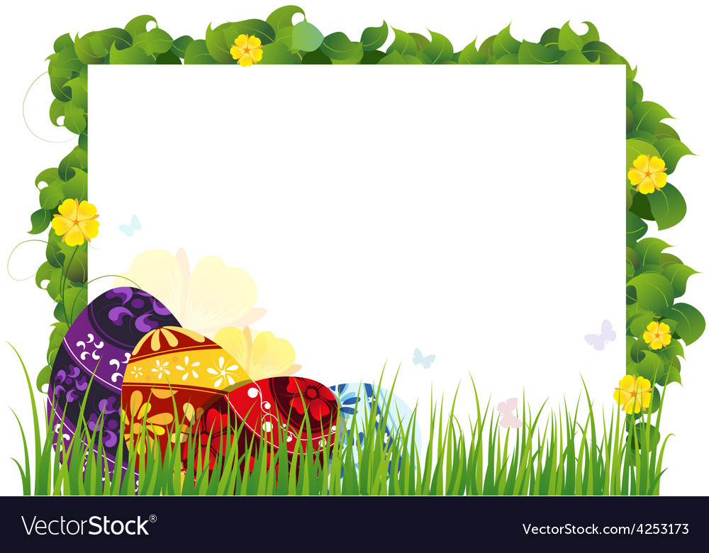 Painted eggs in the grass vector | Price: 3 Credit (USD $3)
