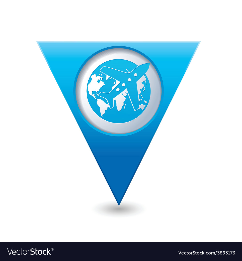 Planeandglobe blue triangular map pointer vector | Price: 1 Credit (USD $1)