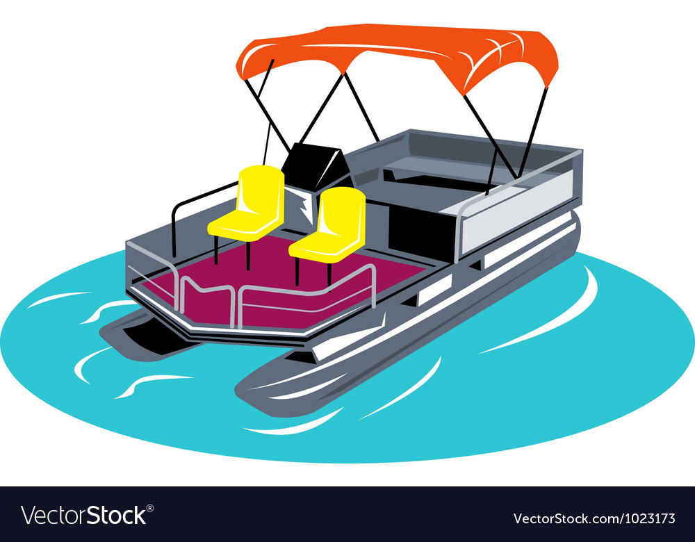 Pontoon boat retro vector | Price: 1 Credit (USD $1)