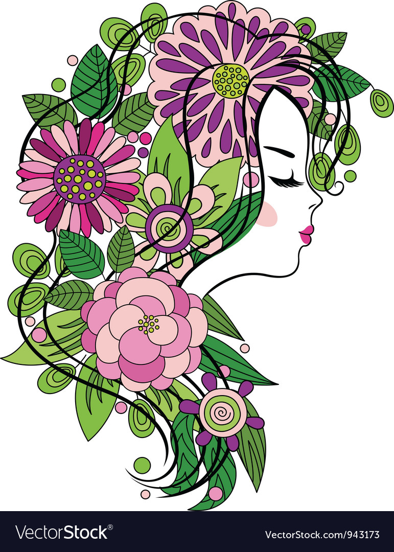 Young girl with flowered hair vector | Price: 1 Credit (USD $1)