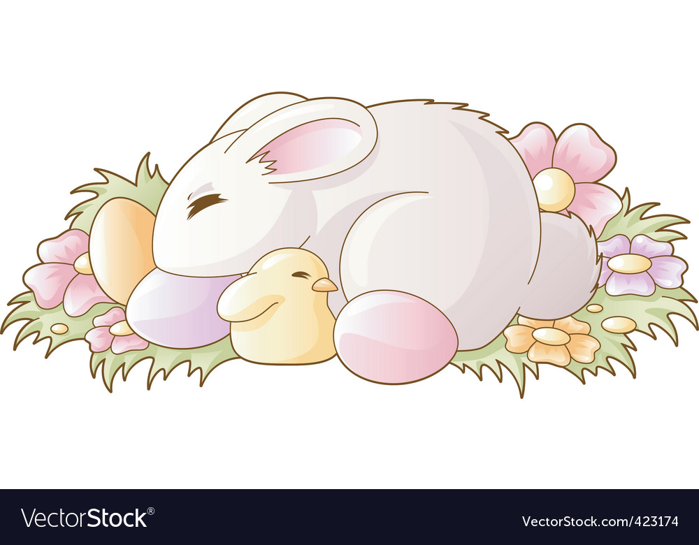 Bunny and chicken vector | Price: 1 Credit (USD $1)