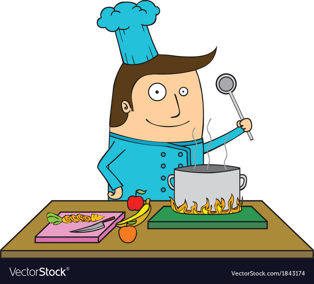 Chef in the kitchen vector | Price: 1 Credit (USD $1)