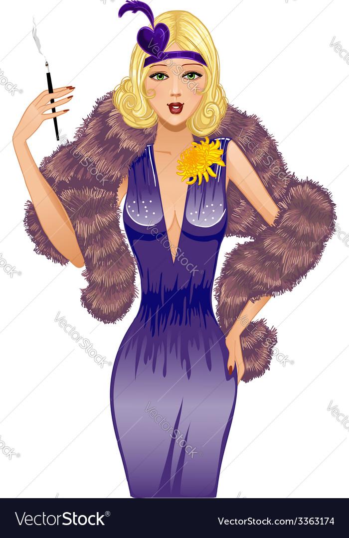 Cute girl in retro style with cigarette vector | Price: 3 Credit (USD $3)
