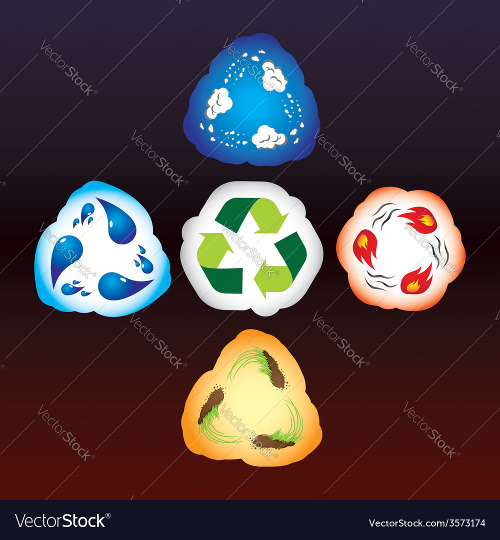 Four elements as recycle signs vector | Price: 1 Credit (USD $1)
