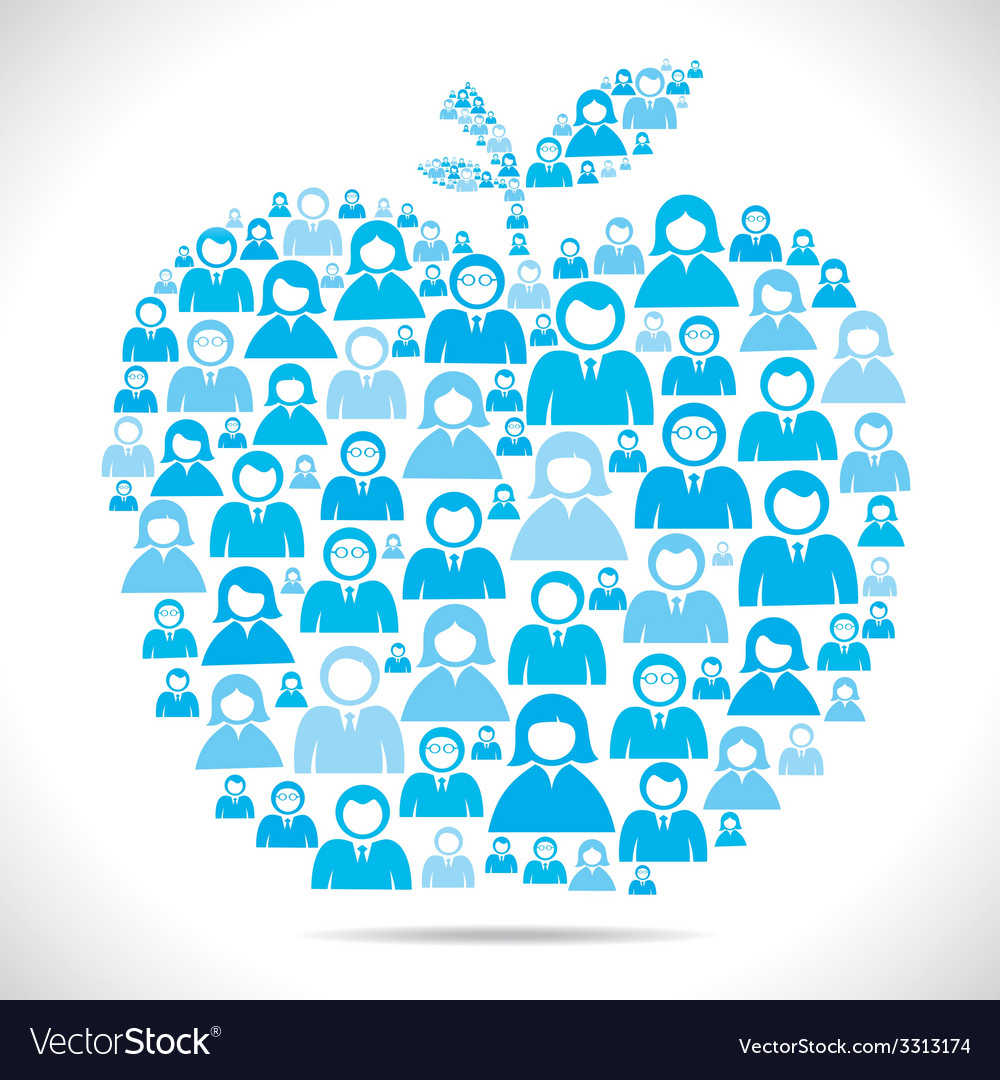 Group of people make apple shape stock vector | Price: 1 Credit (USD $1)