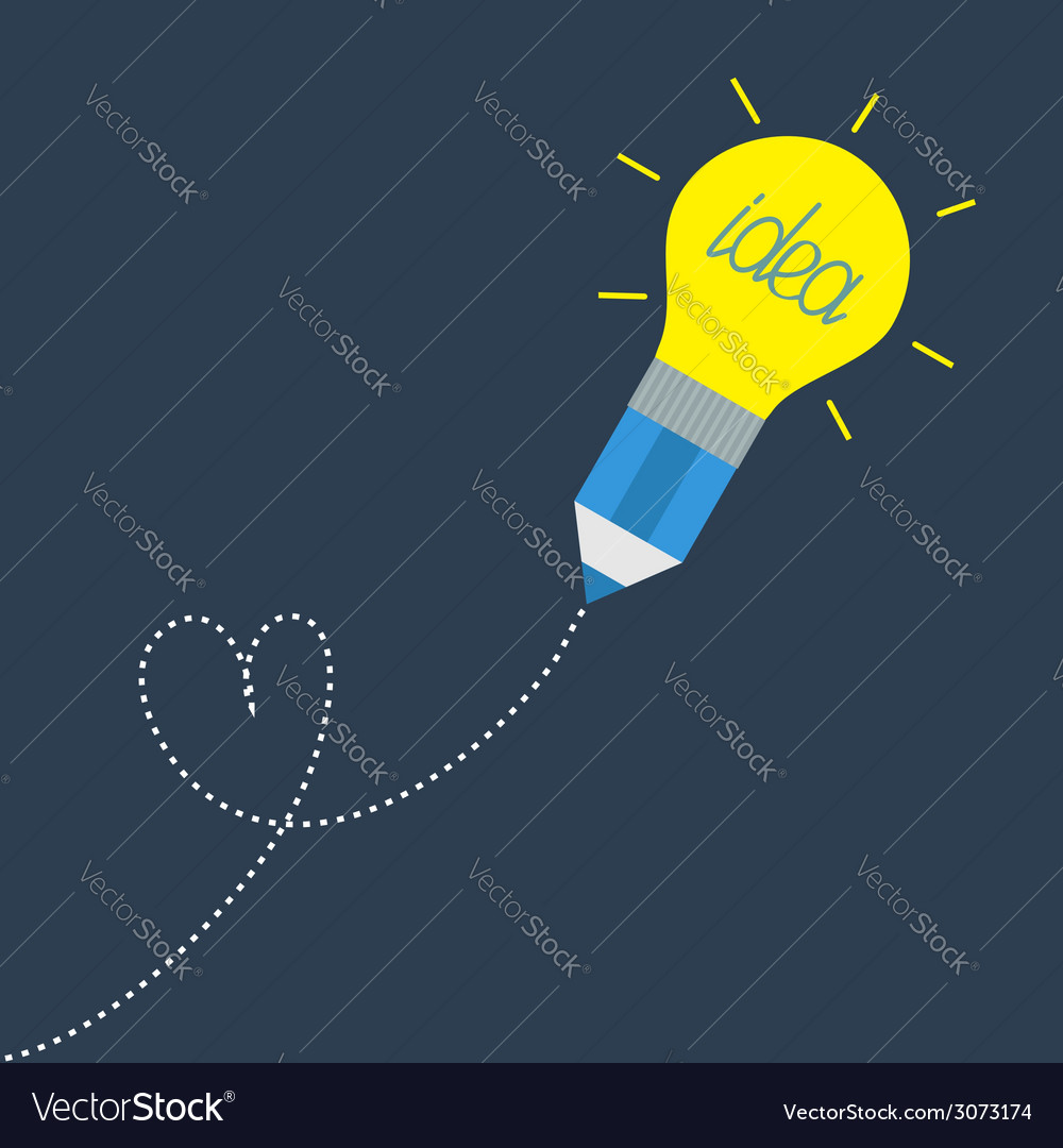 Pencil with yellow light bulb lamp and dash line vector | Price: 1 Credit (USD $1)
