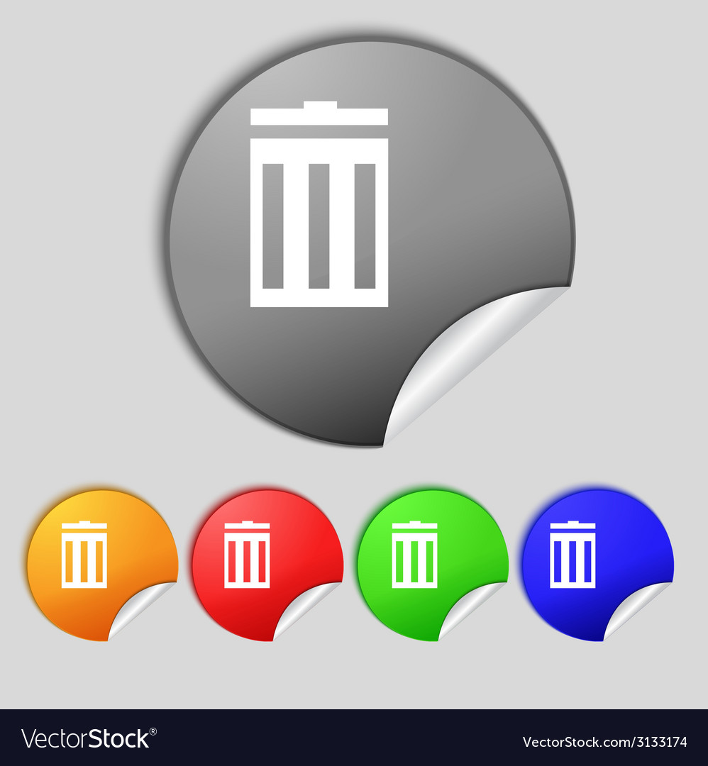 Recycle bin sign icon symbol set of colored vector | Price: 1 Credit (USD $1)