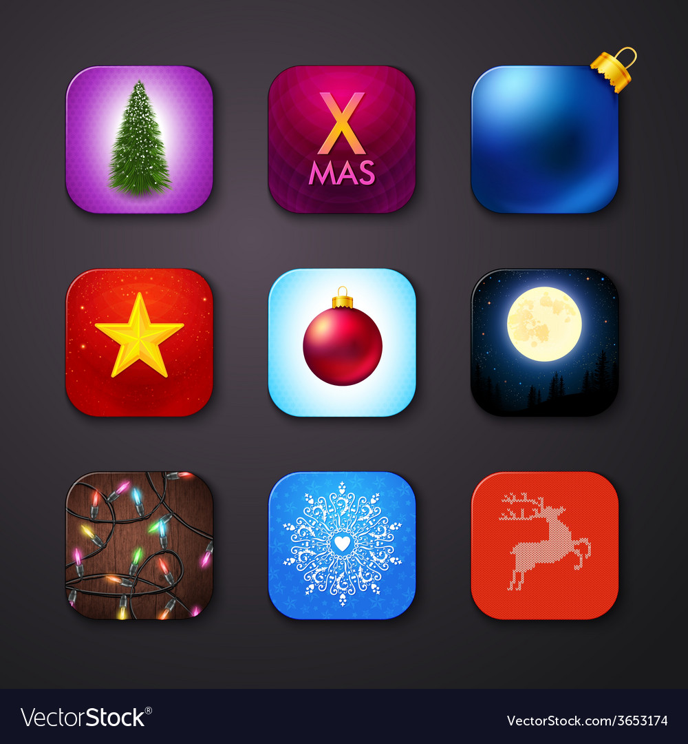 Set of icons stylized like mobile app vector | Price: 1 Credit (USD $1)