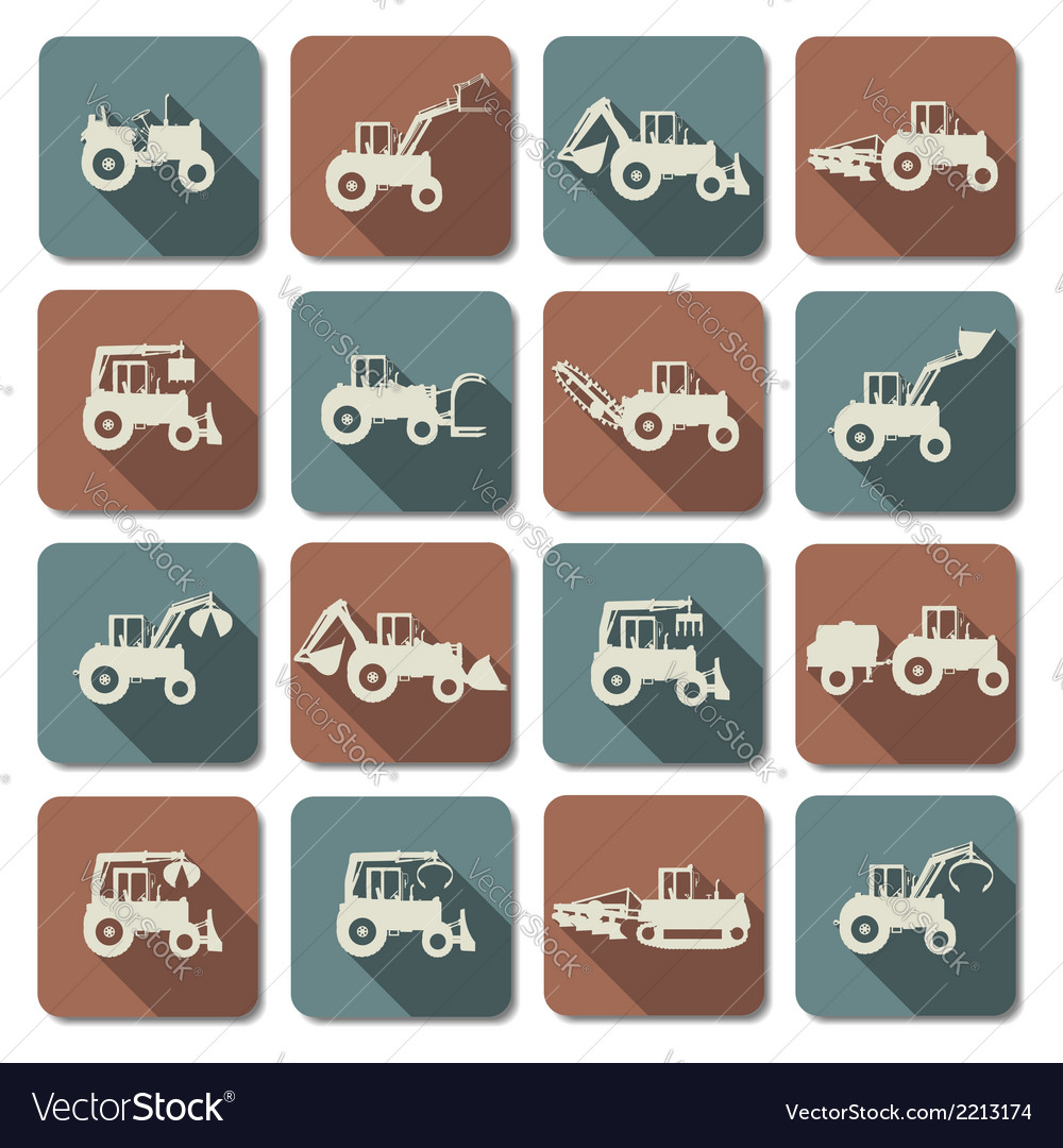 Tractor flat icons vector | Price: 1 Credit (USD $1)