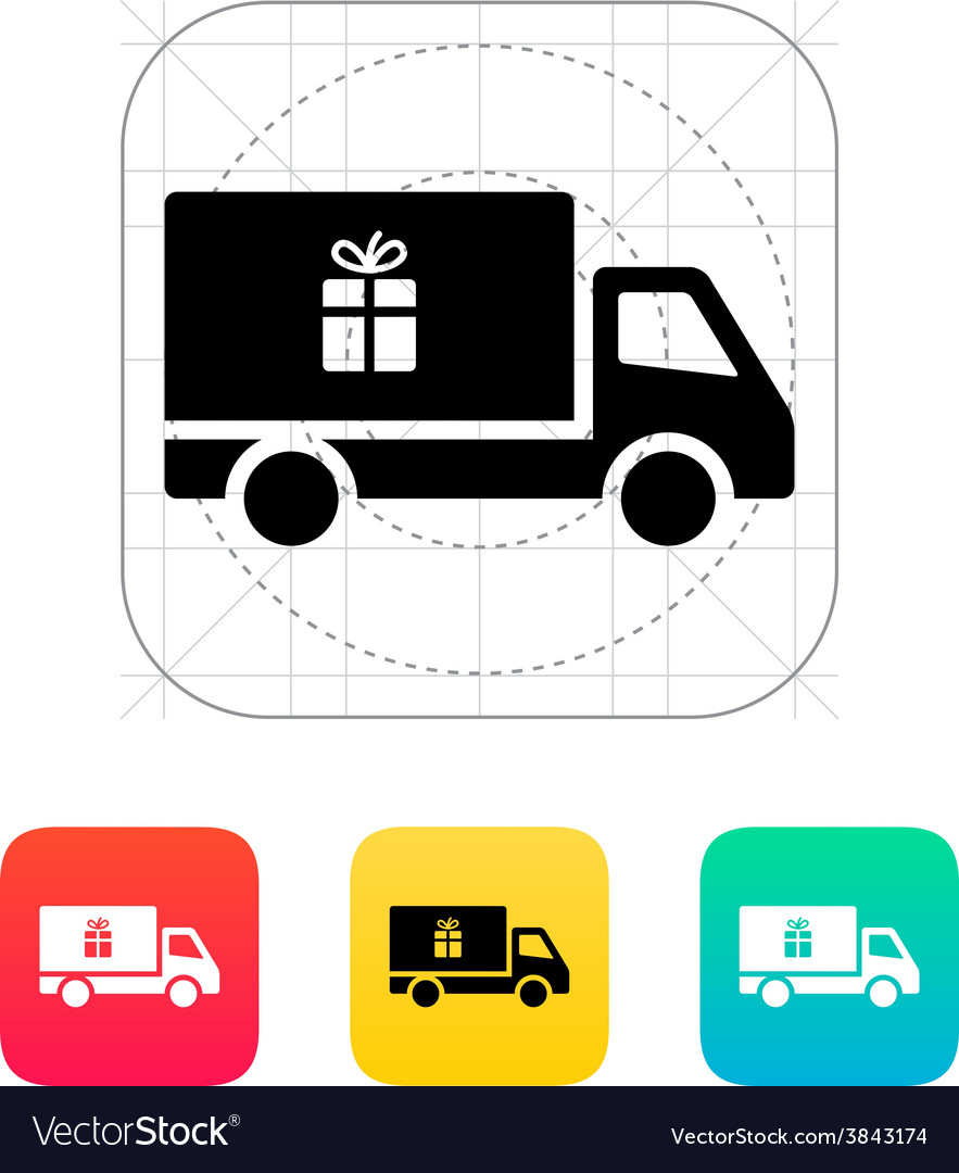 Truck with gift icon vector | Price: 1 Credit (USD $1)