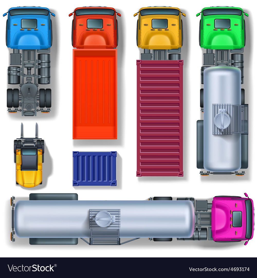 Trucks collection top view vector | Price: 1 Credit (USD $1)