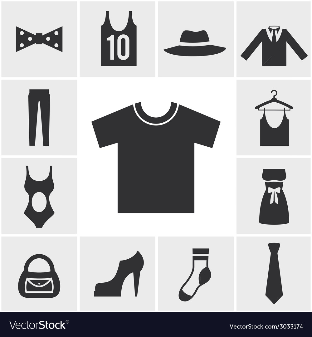 Various monochrome clothing themed graphics vector | Price: 1 Credit (USD $1)