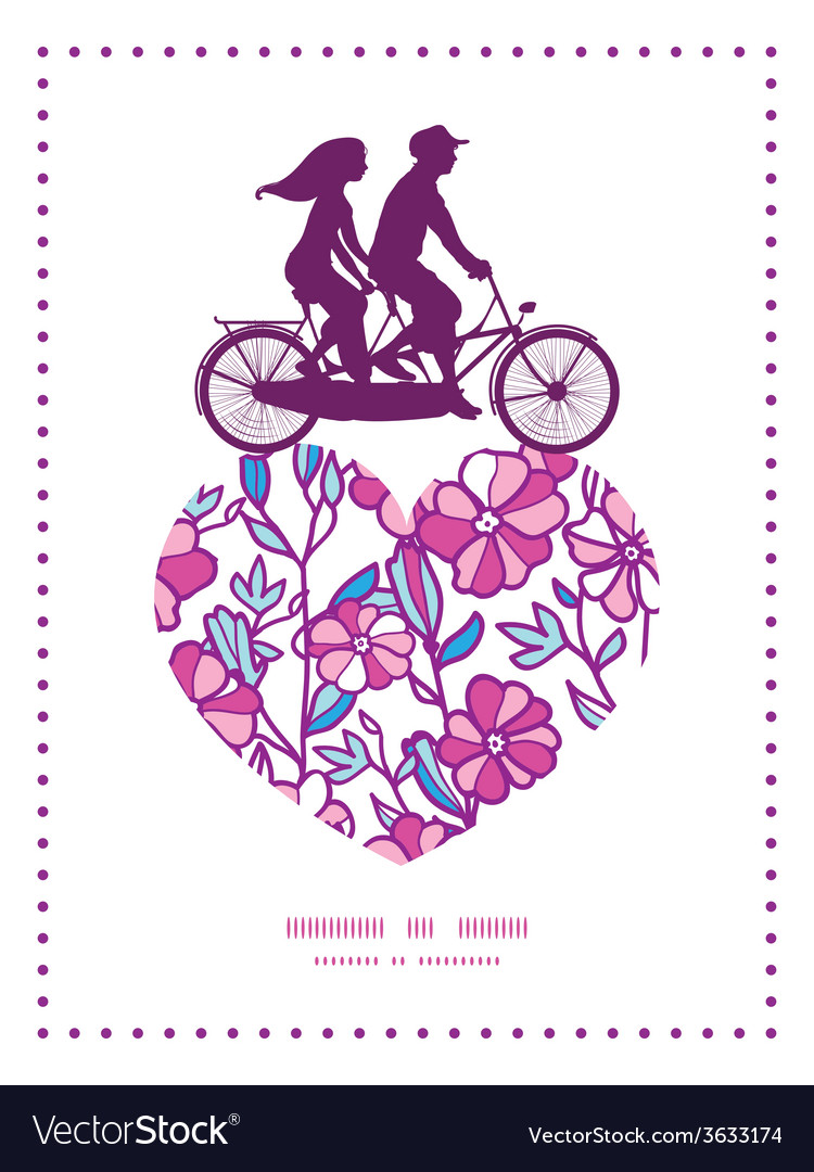 Vibrant field flowers couple on tandem bicycle vector | Price: 1 Credit (USD $1)