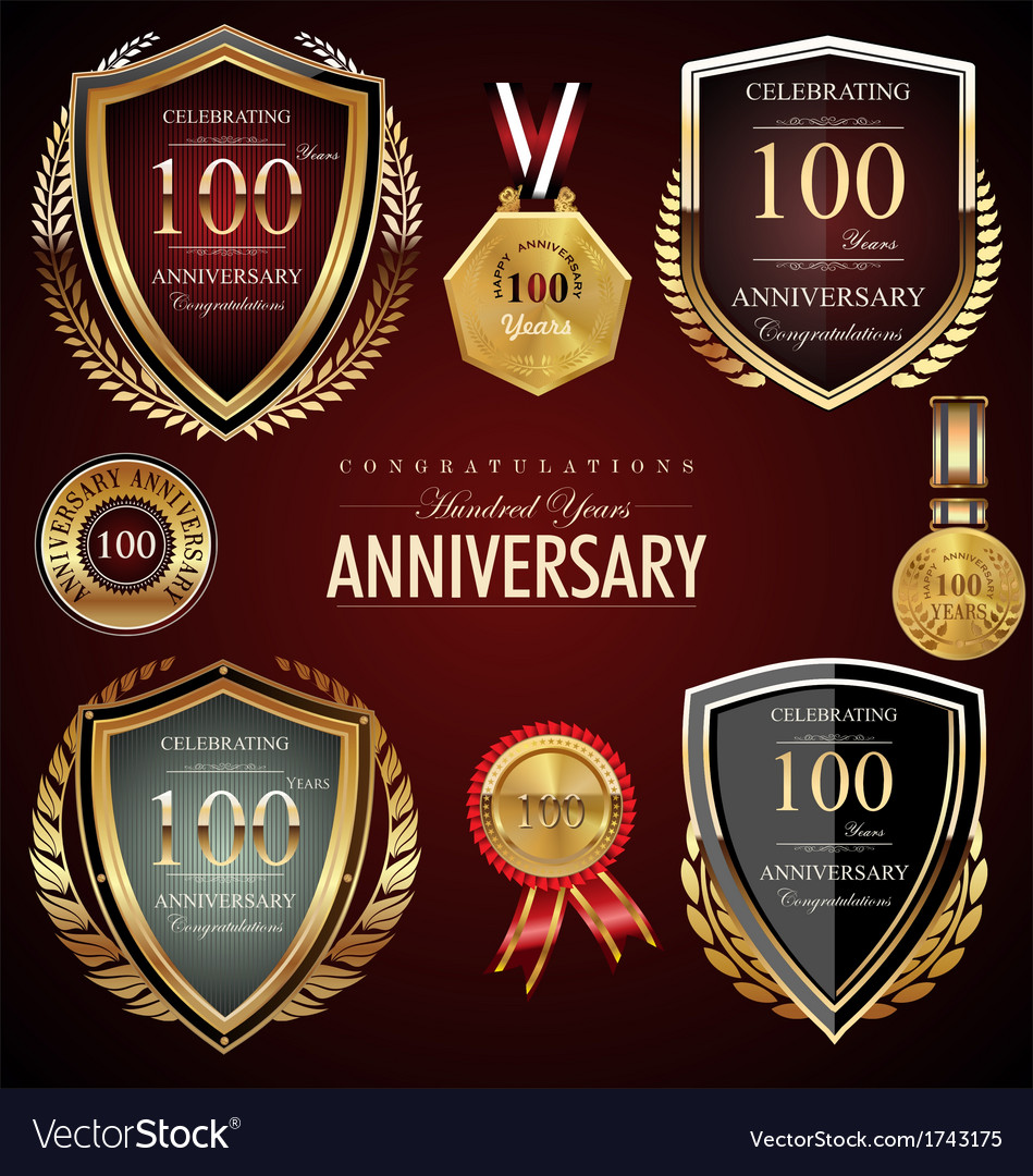 100 years anniversary labels vector | Price: 1 Credit (USD $1)