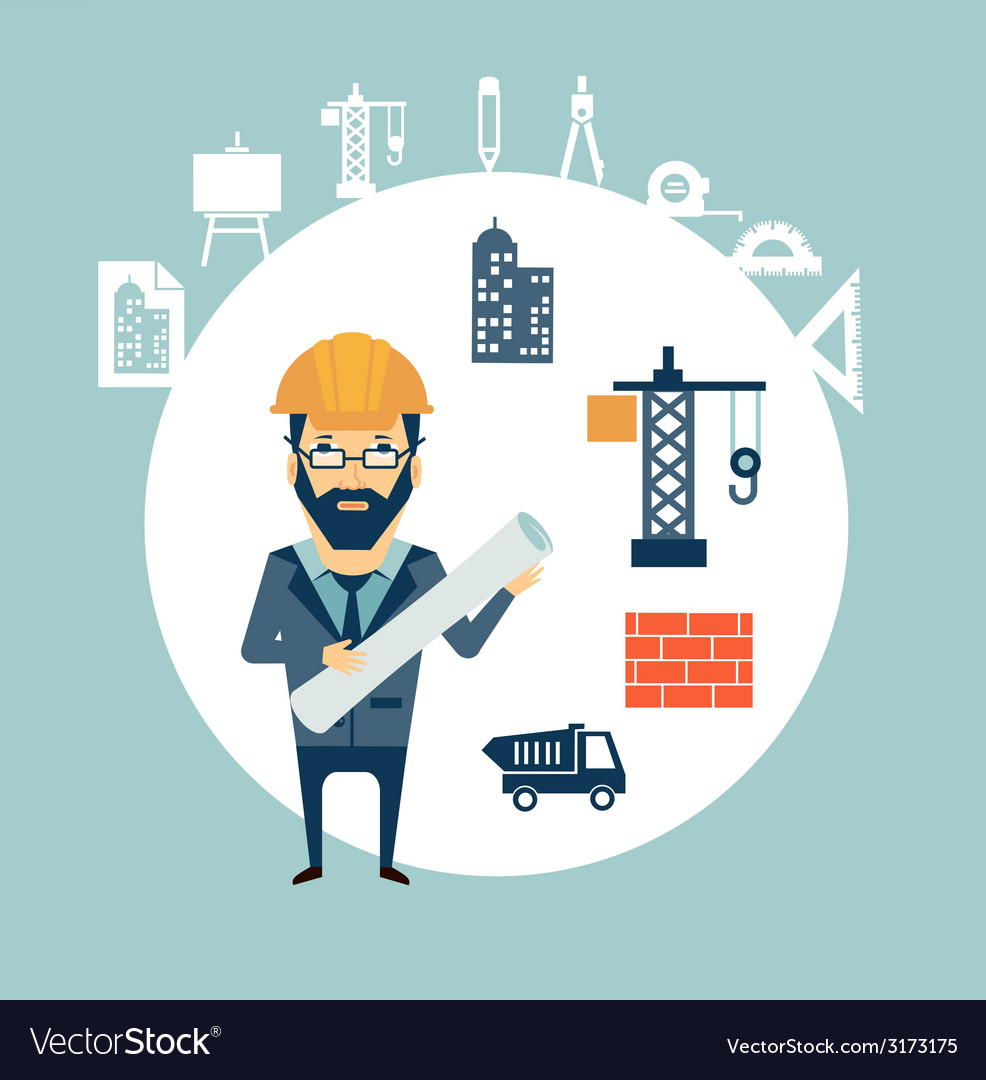 Architect looking for construction vector | Price: 1 Credit (USD $1)