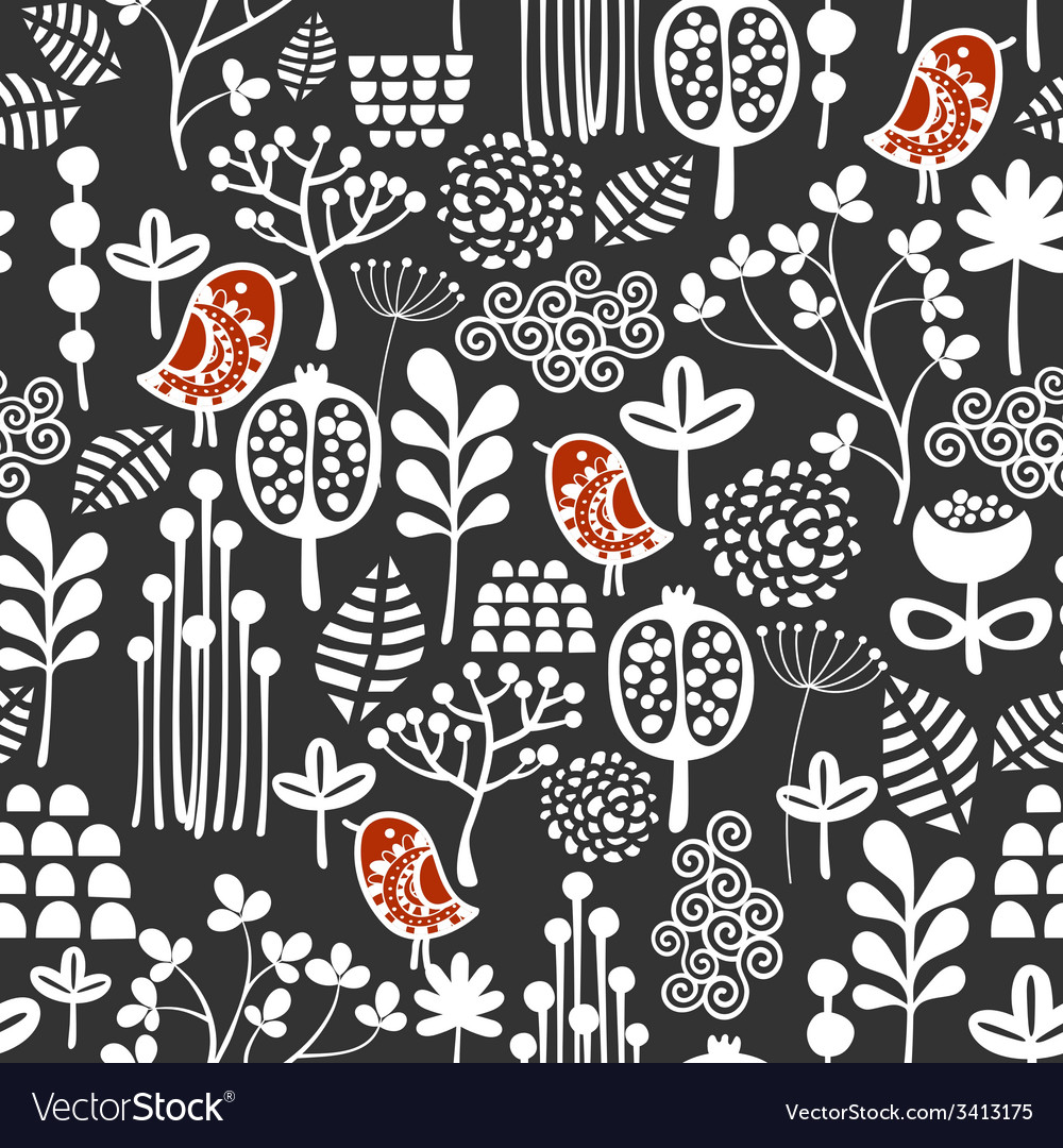 Birds and flowers seamless pattern vector | Price: 1 Credit (USD $1)