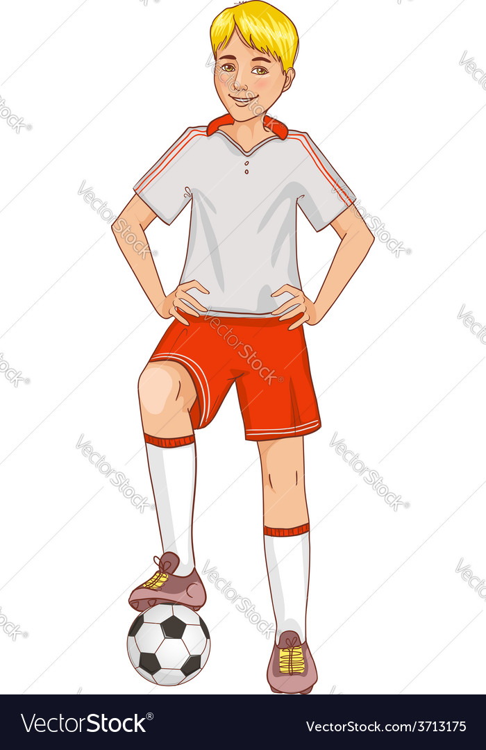 Boy with a football vector | Price: 1 Credit (USD $1)