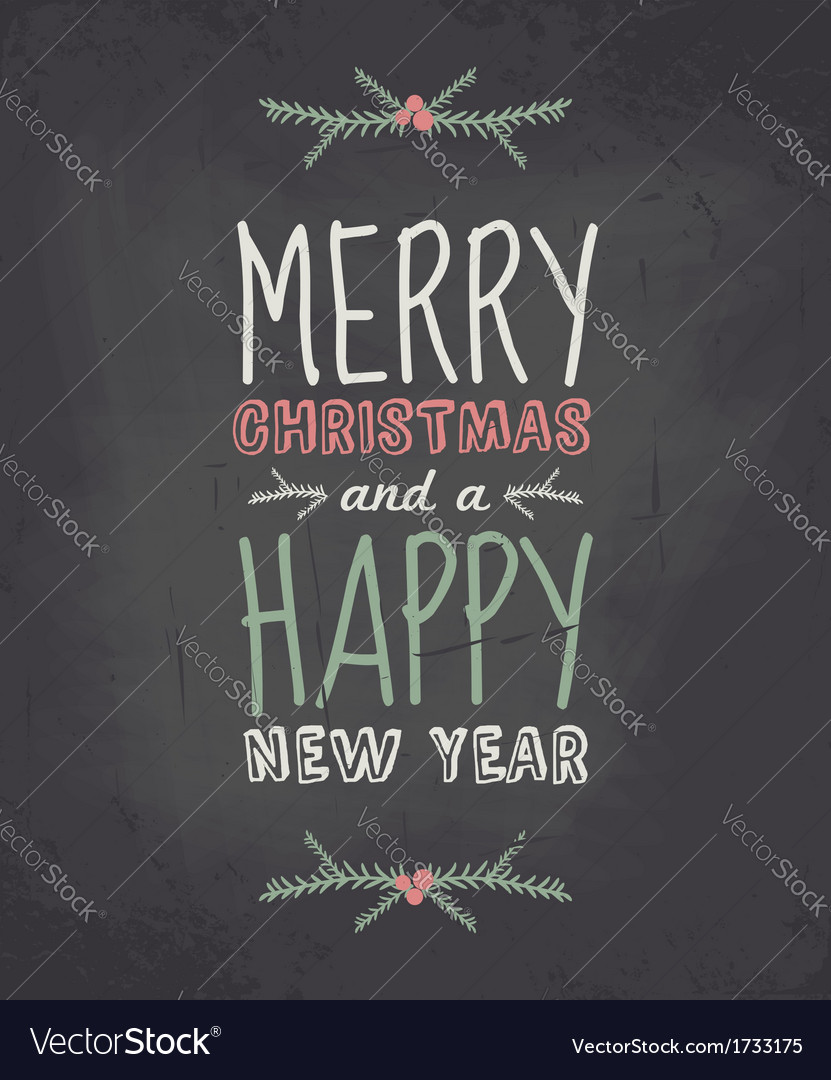 Chalkboard style vintage christmas greeting card vector | Price: 1 Credit (USD $1)