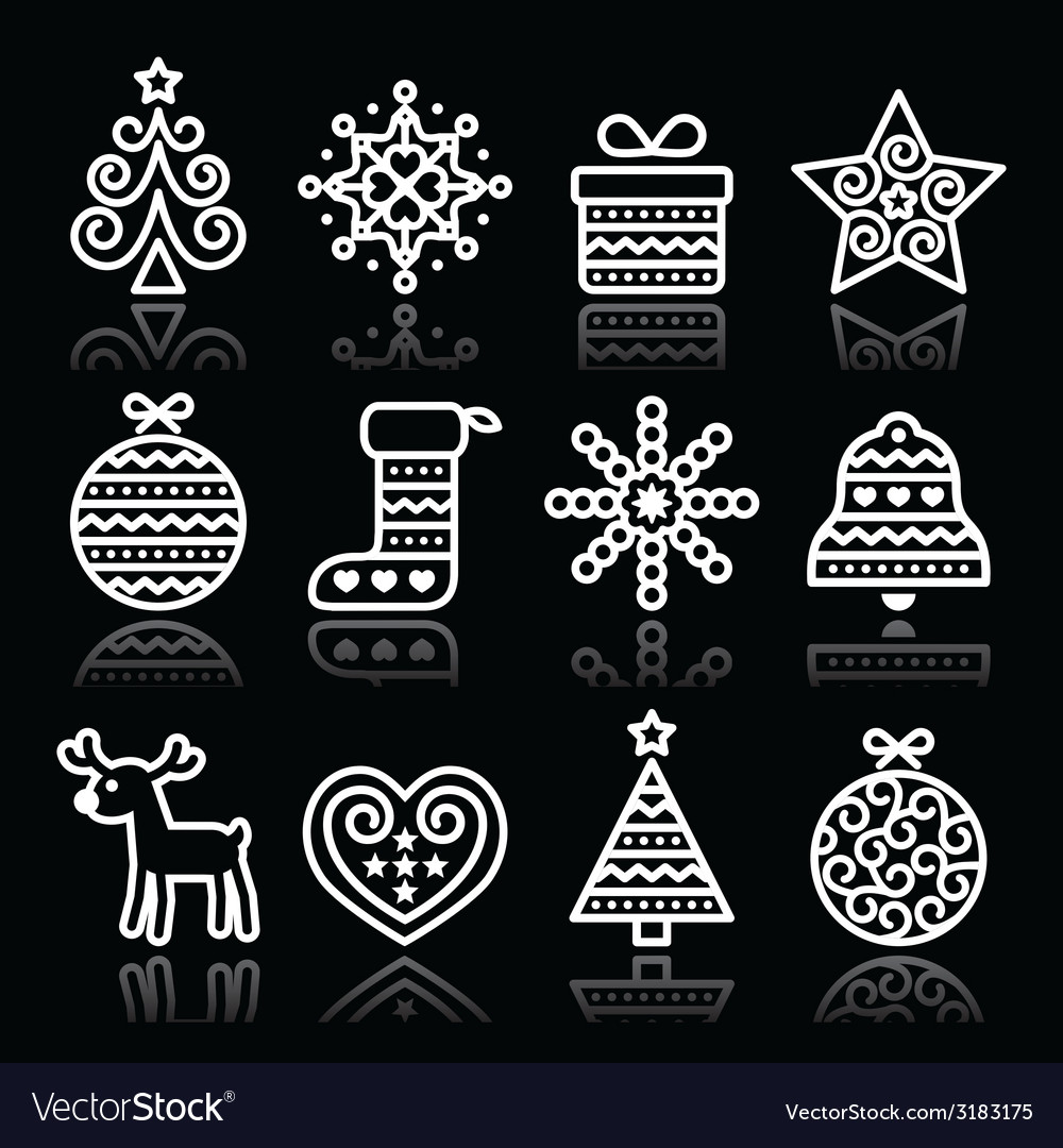 Christmas white icons with stroke on black vector | Price: 1 Credit (USD $1)