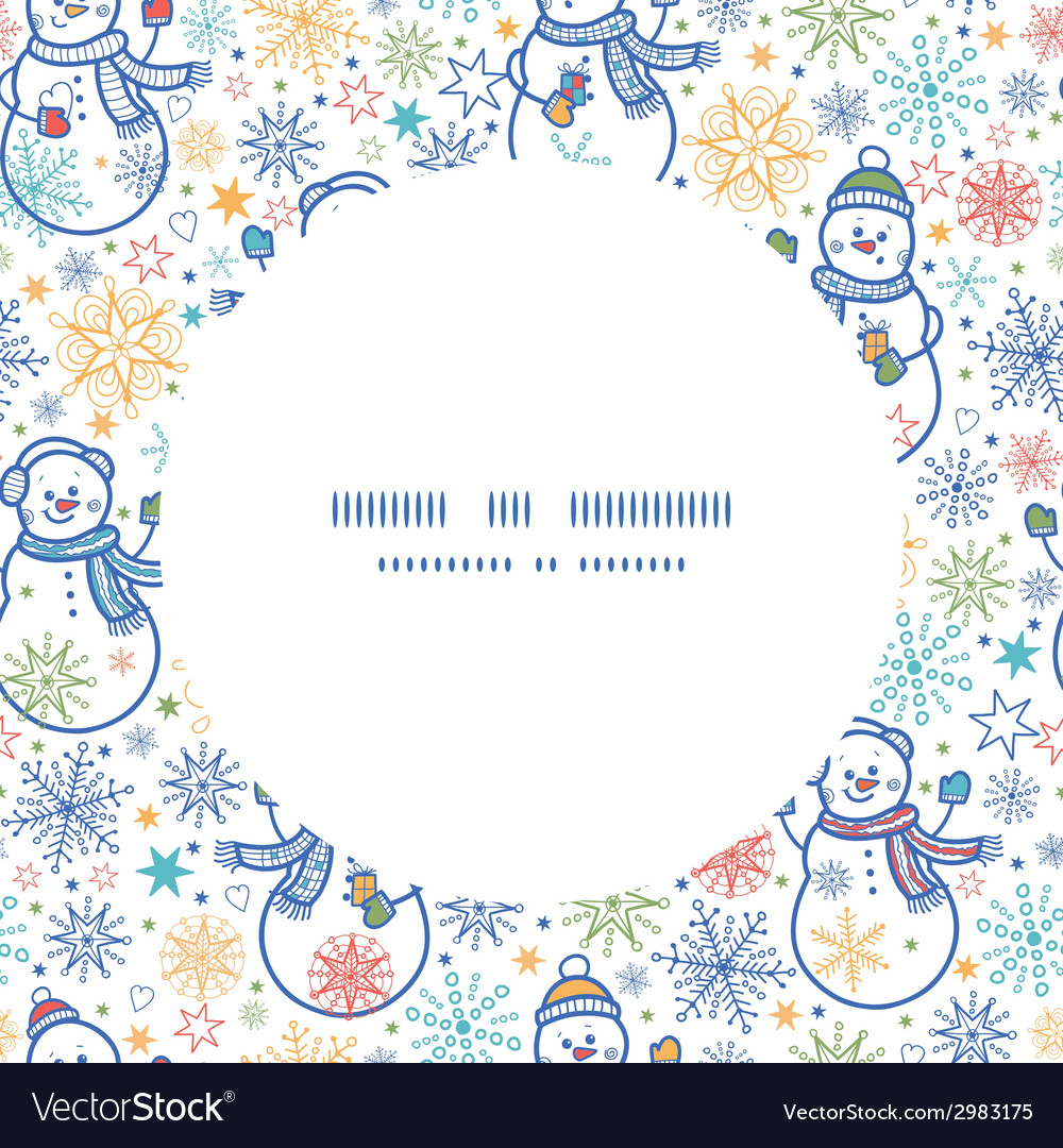 Cute snowmen circle frame seamless pattern vector | Price: 1 Credit (USD $1)