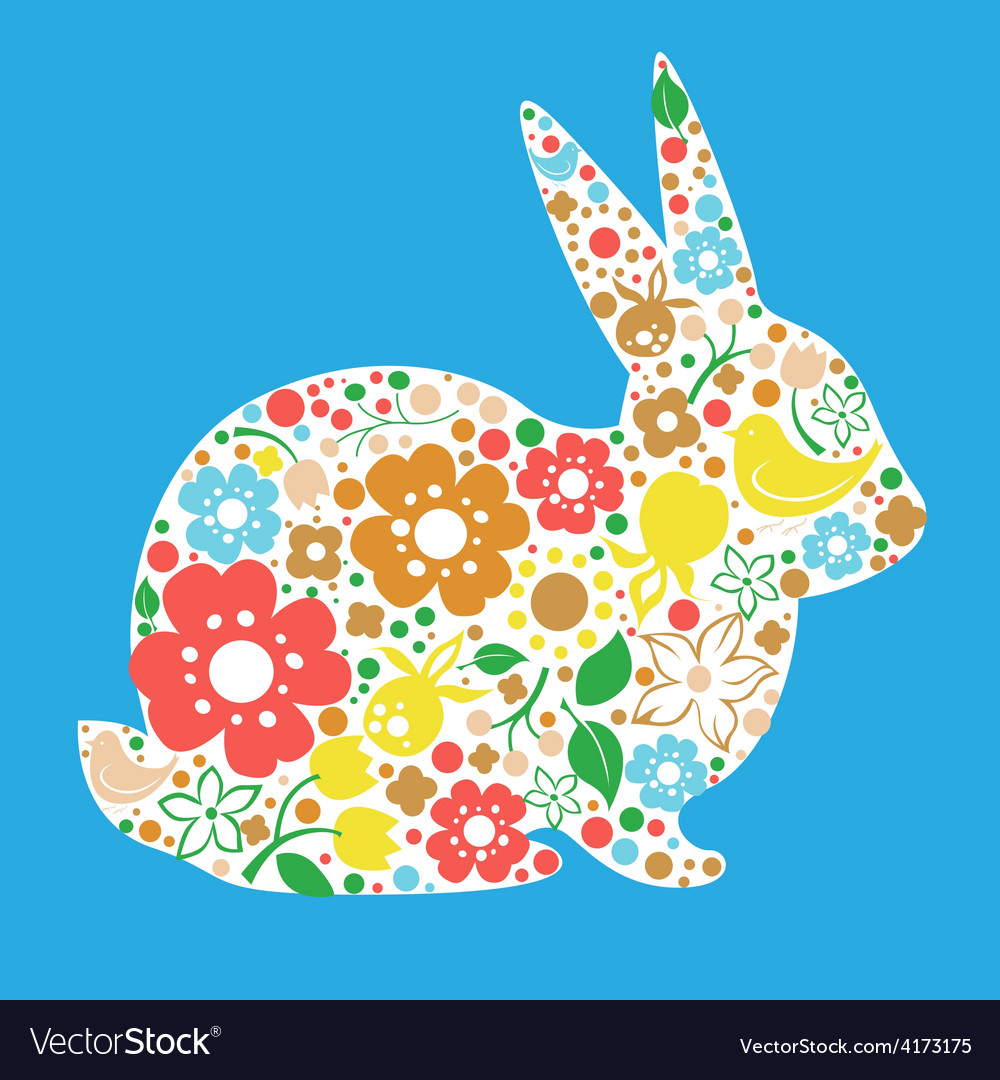 Easter card with bunny from flowers vector | Price: 3 Credit (USD $3)