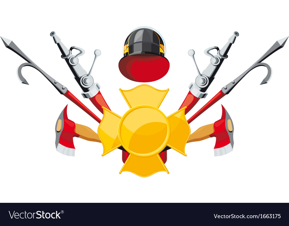Fire-fighting equipment emblem vector | Price: 3 Credit (USD $3)